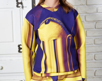 Wearable Art Sweater, Plus Size Sweater, Womens Blouse, Long Sleeve Top, Casual Sweater, Steampunk Top, Stylish Top, Avant Garde Blouse