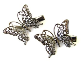2x Gun Black Dark Silver Butterfly Hair Clips Grips Bobby Pins Pastel Goth 1191