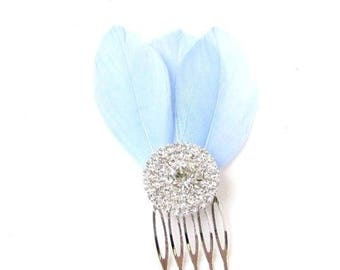 Light Blue Feather Fascinator Hair Comb Silver Diamante Bridesmaid 1920s 2402