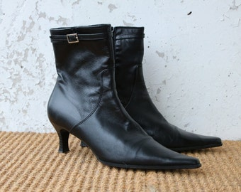SALAMANDER Black Leather Ankle Boots Pointed Toe Boots 38/5/7,5