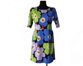 MARIMEKKO Dress Floral Print Cotton Dress Short Sleeve Small Size