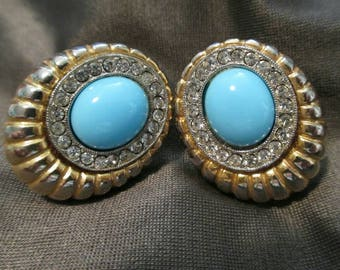 Vintage Earrings faux turquoise blue gold Tone Crystal rhinestone screw back clip on earrings jewelry mod retro Jewellery turquoise earrings