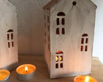 Candle Holder-Ceramic House-Candle Centerpiece--Tea Light Holder-Christmas House
