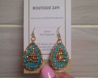 Turquoise and Gold Bead Drop Earrings - Wire Lacework - Gold Plated - Mother's Day Gift