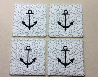 Anchor Quilted Coasters Set of 4
