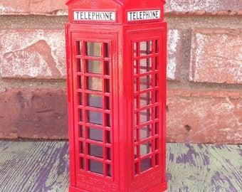 Red metal London phone booth bank | Souvenir bank | London souvenir | piggy bank collectors