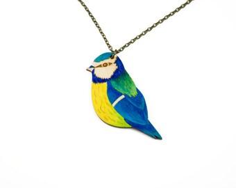 Blue tit necklace, painted necklace, garden bird necklace, wooden necklace, wooden jewellery