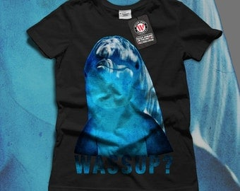 Wassup Blue Dolphin Smiley Face Women Black White Grey Red Royal Blue T-shirt S-2XL NEW | Wellcoda *y2045