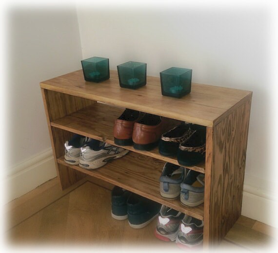 Shoe rack storage bench made from reclaimed pallet - Fabriquer etagere chaussure ...