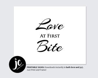 Love at First Bite // Table Wedding Sign // Printable // Black Wedding Signs // DIY Instant Download // Black and Gold