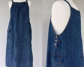 Vintage Denim Dungaree Dress, Dungaree, Retro, Denim Dress, Summer, Festival Dress, Maternity, Size 14 16
