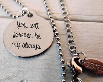"Custom Stainless Steel Round Pendant Necklace (7/8"") Your own personalized message In Computer Font Or Handwritten"