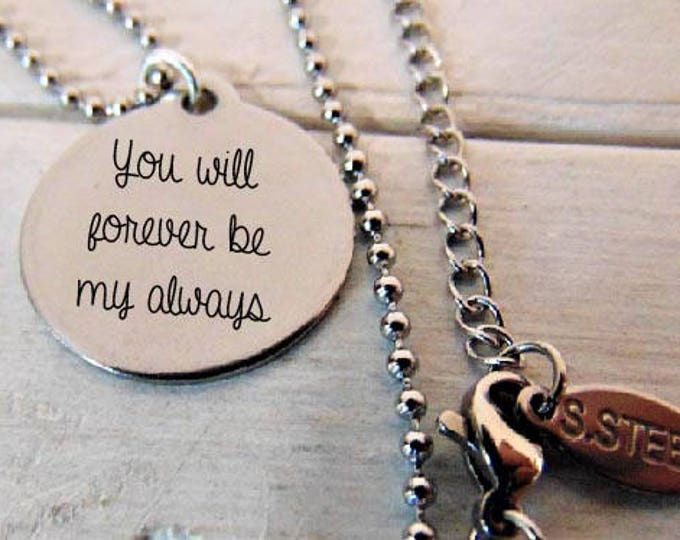 """Custom Stainless Steel Round Pendant Necklace (7/8"""") Your own personalized message In Computer Font Or Handwritten"""