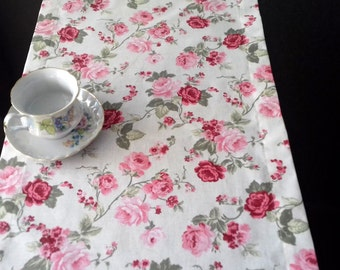 "78"" x 16"" Cotton Table Runner Pink Roses Floral Cotton, Handmade Table Runner, Spring Table Decor"