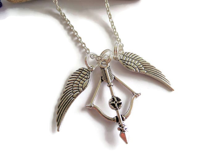 SUPERNATURAL Inspired Bow Arrow Angel Wings charm winchester necklace fan gift jewellery UK