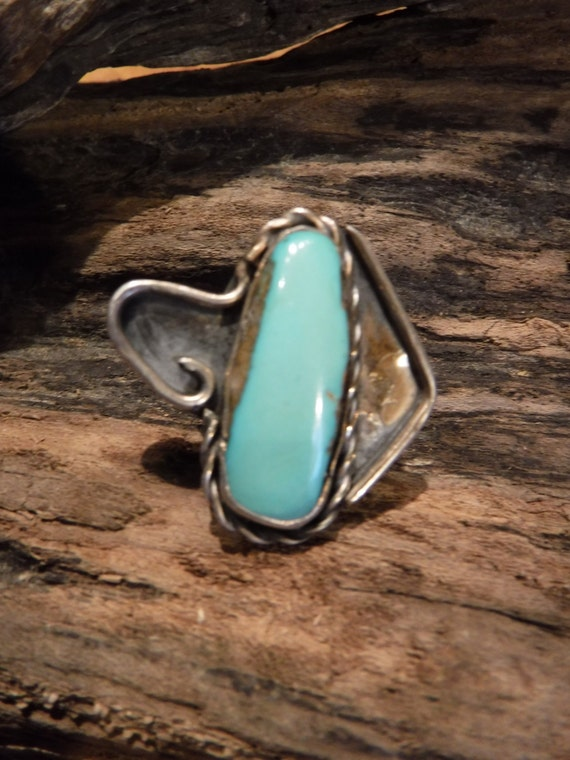 Vintage Large Turquoise Sterling  Silver Ring Navajo Native American 7.4 grams Size 6.5 Sterling Silver Turquoise Inlay Ring Sterling Silver