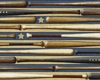 All American Sports Blue Baseball Bats from Benartex by the yard