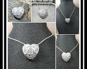 Memorial Ash Ornate Heart Pendant Necklace/ Cremation Memorial Ash Pendant/Pet Memorial/60 Color Options