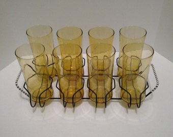 Glasses with Carrier, Set of Eight, Libbey Amber Glasses, Gold Drinking Glasses, Black Metal Caddy, Vintage, 8 Tumblers with Carrier
