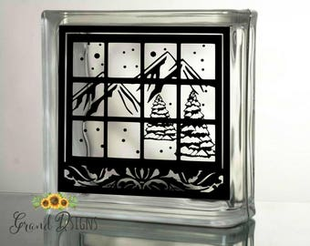 Winter Glass Decal Etsy - How to make vinyl decals for glass blocks