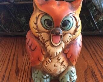 Vintage Chalkware Owl Bank Made in Japan