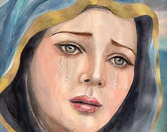 "Catholic art, Virgin Mary art, Our Lady of Sorrows, religious art, Sorrowful Mother print, 8x10"" religious print, wall art"