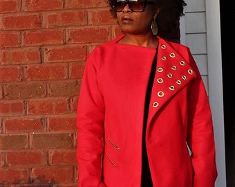Fleece Vibrant Red with Zipper accent and eyelet.
