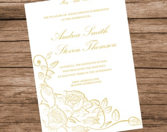 Printable Wedding Invitation Template, Gold Roses Invitation Card, INSTANT DOWNLOAD, Editable Text & Colors, 5x7