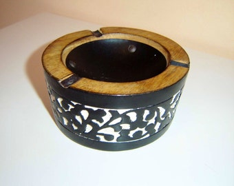 Rare interesting old ASHTRAY WOOD - massive, metal, plaster, wood BOUTIQUE
