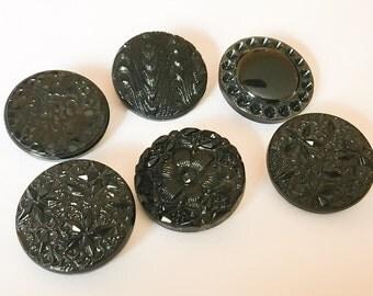 """Fancy black vintage glass button lot 7/8""""-6pc"""