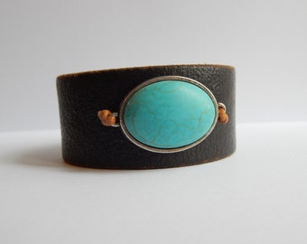 Vintage Leather Cuff Turquoise Stone Upcycled BOHO Jewelry Tribal BOHO Cuff