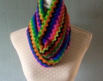 coloured aztec snood, zig zag striped cowl, striped loop scarf, fleece neck warmer