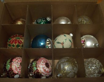 Twelve Assorted Glass Christmas Ornaments
