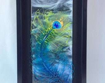 Fused Glass Peacock Feather with Dichroic Glass and Flameworked Accents