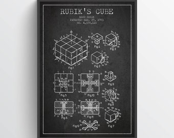 1983 Rubiks Cube Patent, Magic Cube print, Magic Cube Poster, Wall Art, Home Decor, Gift Idea, GT10P