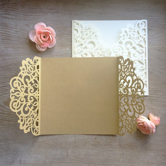DIY Square Laser Cut Gatefold Invitation - Laser Cut Wedding Invitations - Elegant Invitations - Lace Paper Invites -More Colors Available