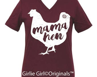 Girlie Girl Originals Mama Hen Maroon V-Neck Short Sleeve T-Shirt