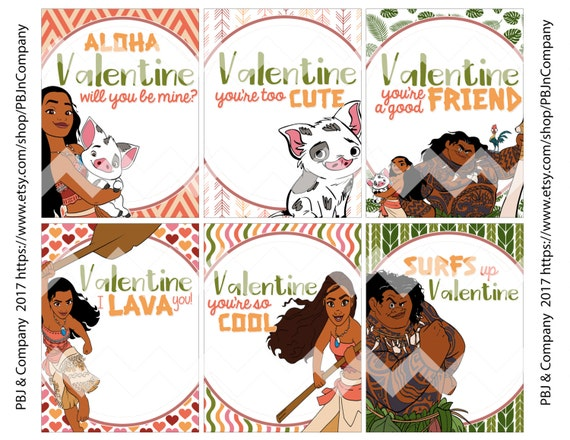 Disney Moana Cute Printable Valentine cards