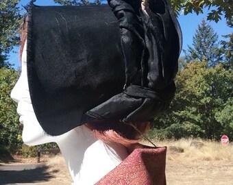 1800s Black Silk Spoon Bonnet