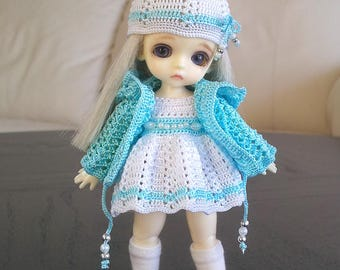 Hand knitting: Set for Lati White SP (12 см) - dress, jacket, cap
