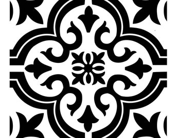Reusable Laser-Cut Small to Large Floor or Wall Tile Stencil #18 fits 4x4 inch to 17x17 inch