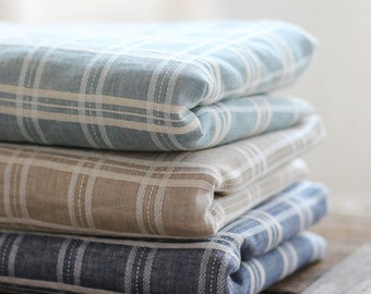 Plaid fabric, Plaid cotton fabric, Tartan plaid fabric, Vintage check fabric, light weight  5 colors by half yard - 1/2 yard