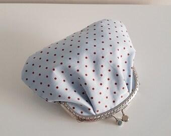 Purse / big coin purse / change purse / coin purse / Kiss lock purse / clasp purse/make up bag/clutch/gift - blue/polka dot/retro/gift