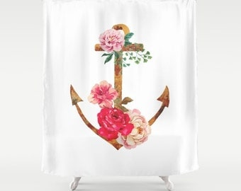 Anchor Shower Curtain Floral Anchor Bathroom Decor Pink Floral Shower  Curtain Home Decor Gifts For Her