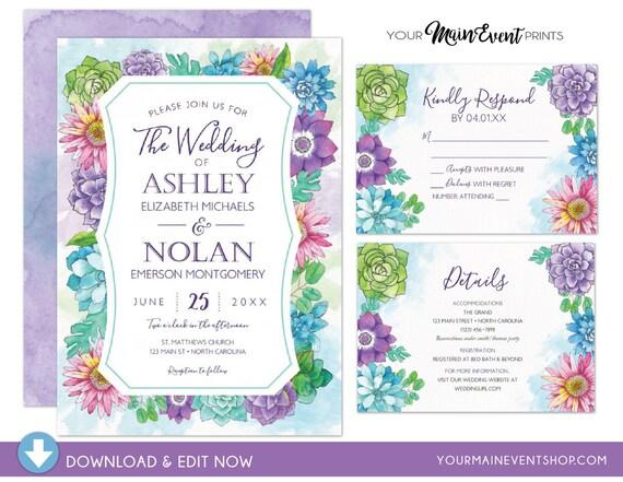 Summer and Spring Floral Wedding Invitation Set - Watercolor Flower RSVP Card, Details Card - Elegant Instant Download Edit Yourself