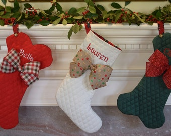 Dog Bone Christmas Stockings Traditional Too || Personalized Pet || Fish with Jingle Bell Christmas Stocking || Gift by Three Spoiled Dogs