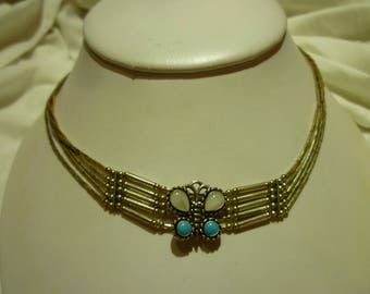 G8 Vintage Sterling Silver Necklace with Butterfly Pendant.