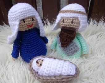 Nativity Mary Joseph & baby Jesus crochet knitted Christmas figures Posada Amigurumi reduced