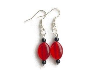 Red Glass Oval Earrings, Valentine's Day Earrings, Valentine's Day Gifts for Her, Red Earrings, Red Jewelry, Minimalist Earrings