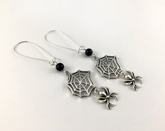 Gothic Spider & Web Tunnel Earrings (Pair) On Silver Plated Hooks - Spider Earrings For Stretched Ears/Gauged Ears, Gothic Earrings, Goth